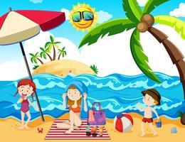 Ein Familien-Sommerurlaub am Strand vektor