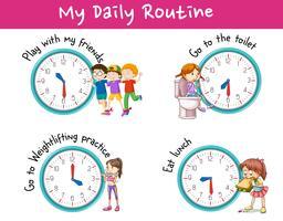 Barn och olika aktiviteter för daglig rutin vektor