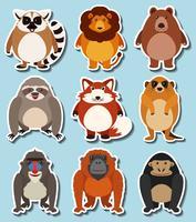 Aufkleberdesign für wilde Tiere vektor