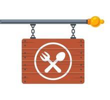 Hängendes Holzschild mit Gabel- und Löffelsymbol. Werbung Café. vektor