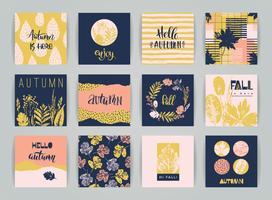 Set med konstnärliga kreativa höstkort.