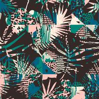 Seamless exotiskt mönster med tropiska växter.