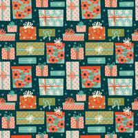 Jul och gott nytt år sömlöst mönster med presentkartonger. vektor