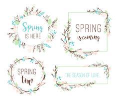Satz Frühlingsrahmen von Niederlassungen und Blättern. vektor
