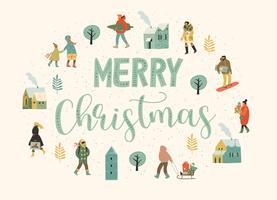 Jul och gott nytt år illustration med människor. Trendig retrostil. vektor