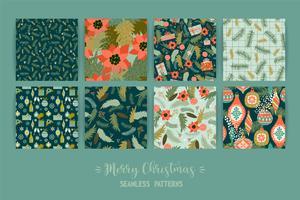 Set med jul och gott nytt år sömlösa mönster. vektor