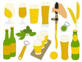 Bierset aus Gläsern, Bierflaschen, Öffnern und Hopfen vektor