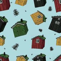 Holzhäuser mit Gras auf dem Dach buntes nahtloses Muster vektor