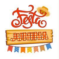 Latinamerikansk helgdag, junipartiet i Brasilien. Lettering design. vektor