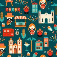 Lateinamerikanischer Feiertag, die Juniparty von Brasilien. Flaches nahtloses Muster