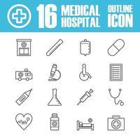 Krankenhaus Umriss Symbol vektor