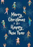 Jul och gott nytt år illustration med dansande kvinnor.