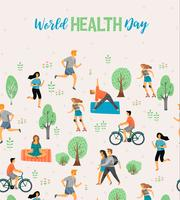 Världshälsodagen. Hälsosam livsstil. vektor
