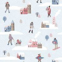 Weihnachten und guten Rutsch ins Neue Jahr nahtlose Muster Whit Leute.