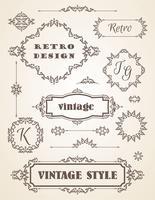 Set med Retro Vintage Badges, Ramar, Etiketter och Gränser. vektor
