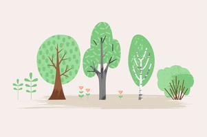 Vektor stiliserad illustration av växt. Träd, buske, gräs, blommor.