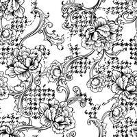 Eklektiskt tyg pläd sömlöst mönster med barock prydnad.
