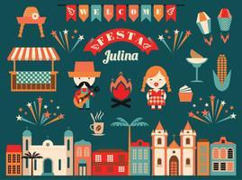 Latinamerikansk helgdag, junipartiet i Brasilien. vektor