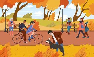 Menschen gehen im Herbst im Parkgelände spazieren. Bürger erholen sich in der Natur vektor