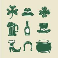 Satz von 9 Gestaltungselementen auf St Patrick Tagesthema-Schmutzart vektor
