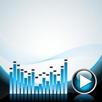 Vektorillustration für musikalisches Thema mit Spielknopf und Lautsprechern
