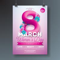Women's Day Party Flyer Illustration med abstrakt vätska åtta vektor