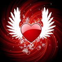 Alla hjärtans dag illustration med hjärta och vingar.