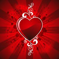 Alla hjärtans dag illustration med glänsande hjärtsymbol