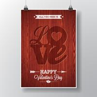 Vektor Flyer illustration på en Alla hjärtans dag tema med kärlek typografisk design