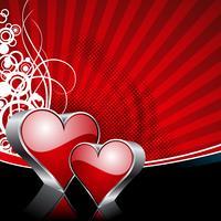 Alla hjärtans dag illustration med blanka hjärtsymboler på röd bakgrund.