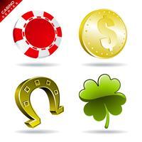 Spelelement från en kasinospel med token, mynt, hästsko och klöver.