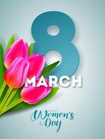 Kvinnors dag hälsningskort vektor