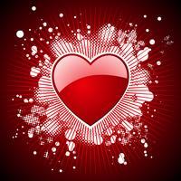 Alla hjärtans dag illustration med blanka röda hjärtan.