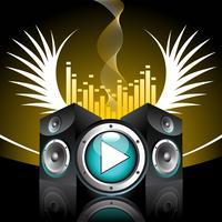 musikaliskt tema med högtalare och vinge