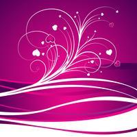 Valentinstagillustration mit reizendem Herd auf violettem Hintergrund vektor