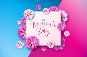 Lycklig kvinna dag blom- hälsning Cwomen dag hälsning Cardard design. Internationella kvinnliga semesterillustration med blomma och typografi Brevdesign