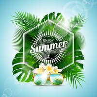 Genießen Sie die typografische Illustration der Sommerferien mit tropischen Pflanzen und Blumen