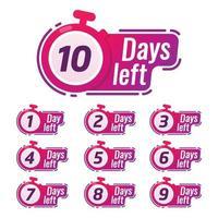 Countdown-Zeichen-Timer-Zähler-Abzeichen für das kommende Ereignis event vektor