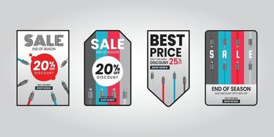 Ende Jahr Verkauf Rabatt Mobilgerät USB-Ladekabel vektor