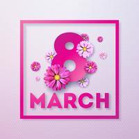 8 mars. Glad kvinna dag blomning hälsningskort. Internationella semesterillustration med blommönster på rosa bakgrund.