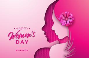 8 mars. Kvinnors daghälsningskortdesign