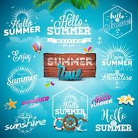 Sommer-Typografie-Illustration stellte mit Zeichen und Symbolen auf blauem Hintergrund ein vektor