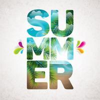 Vector typografische Illustration der Sommerferien mit tropischen Anlagen und Blume