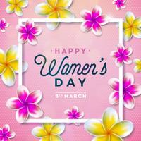 8 mars. Glad kvinna dag blomning hälsningskort.