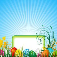 Vektor-Ostern-Abbildung mit gemalten Eiern