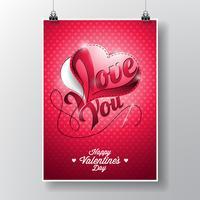 Vector Fliegerillustration auf einem Valentinstagthema mit nähendem Herzen
