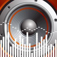 Vektorillustration für musikalisches Thema mit Sprecher