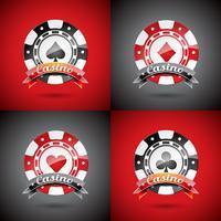 Vector Illustration auf einem Kasinothema mit dem Spielen der eingestellten Chips.