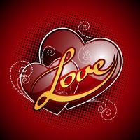 Alla hjärtans dag illustration med blanka röda hjärtan