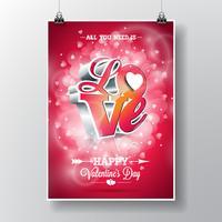 Vector Fliegerillustration auf einem Valentinstagthema mit typografischem Design der Liebe 3d